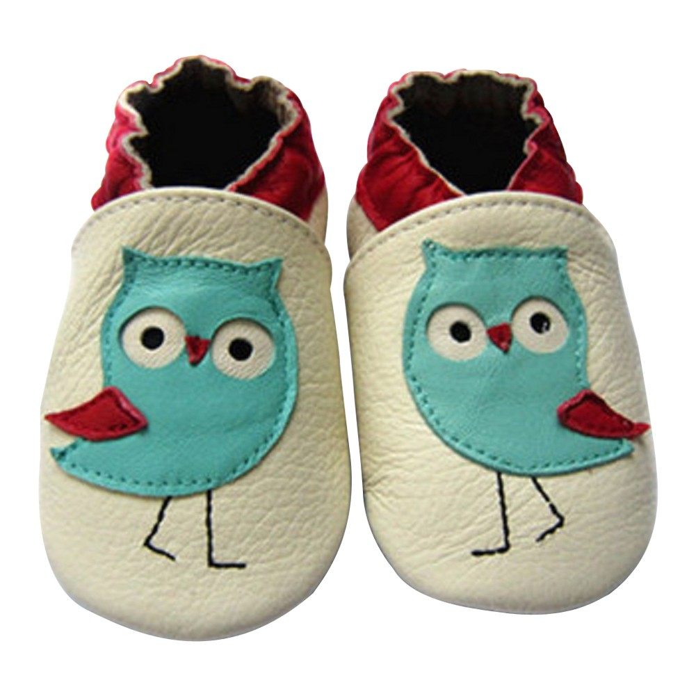Baby Girls Turquoise Owl Design Soft Leather Moccasins 3-18M