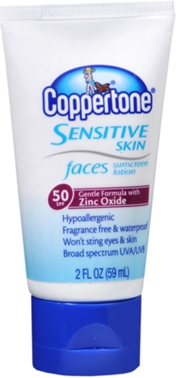 Coppertone Sensitive Skin Faces Sunscreen Lotion SPF 50 2 oz (Pack of 6) Eos Evolution of Smooth - Sunscreen Lip Balm Sphere Lemon Twist 15 SPF - 0.25 oz. (pack of 3)