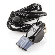 Fox 40 Mini CMG 3-Chamber Pealess Whistle with Lanyard, Black