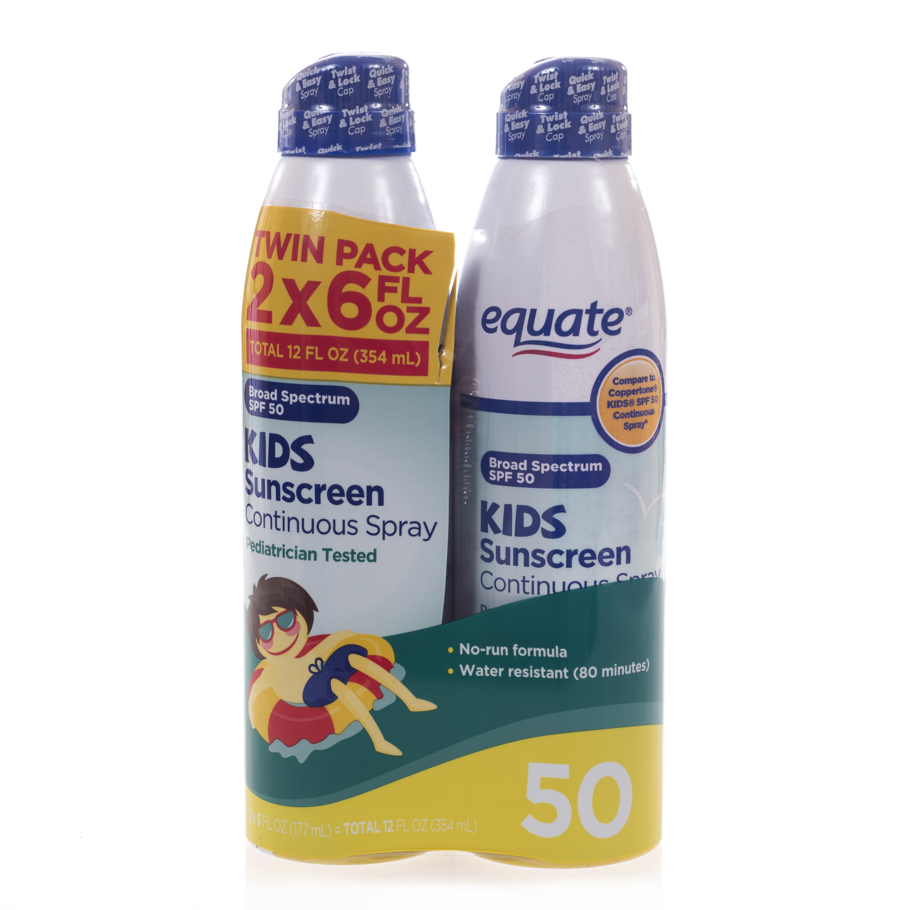 Equate Kids Continuous Spray Sunscreen, SPF 50 (Pack of 2)