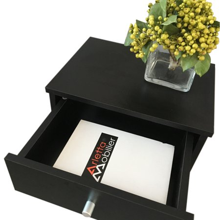 40 x 30 x 60cm Round Handle Night Stand with One Drawer Black