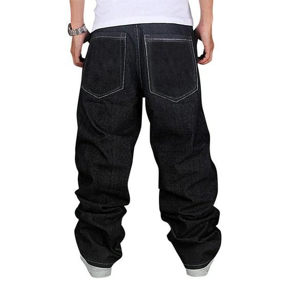 b6c4ed32a30 Men s Fashion Jeans Straight Plus Size Loose Denim Trouser HIPHOP Pants  Wash Black - Walmart.com