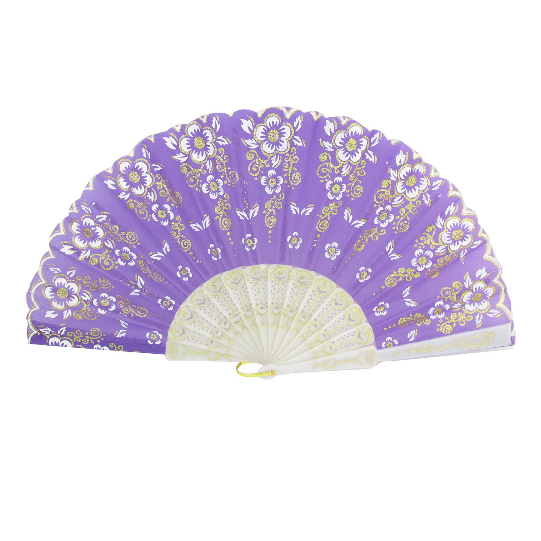 Fold Purple Nylon Fabric Floral Print Hand Fan w Hanging Ring