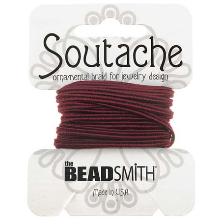 Soutache Cord - BeadSmith Soutache Braided Cord 3mm Wide - Merlot Red (3 Yard Card)