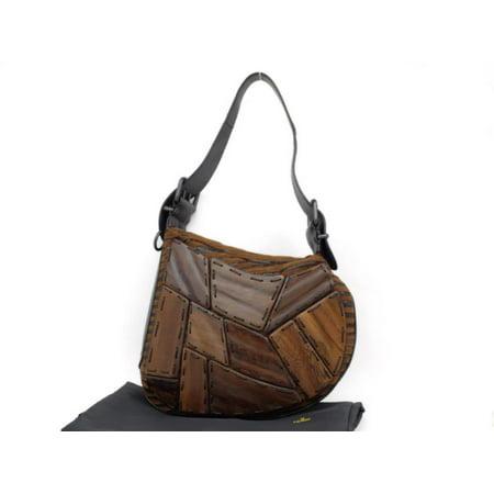 Fendi Wooden Patchwork Kidney Bean Hobo 230998 Brown Wool Shoulder Bag (Fendi Brown Bag)