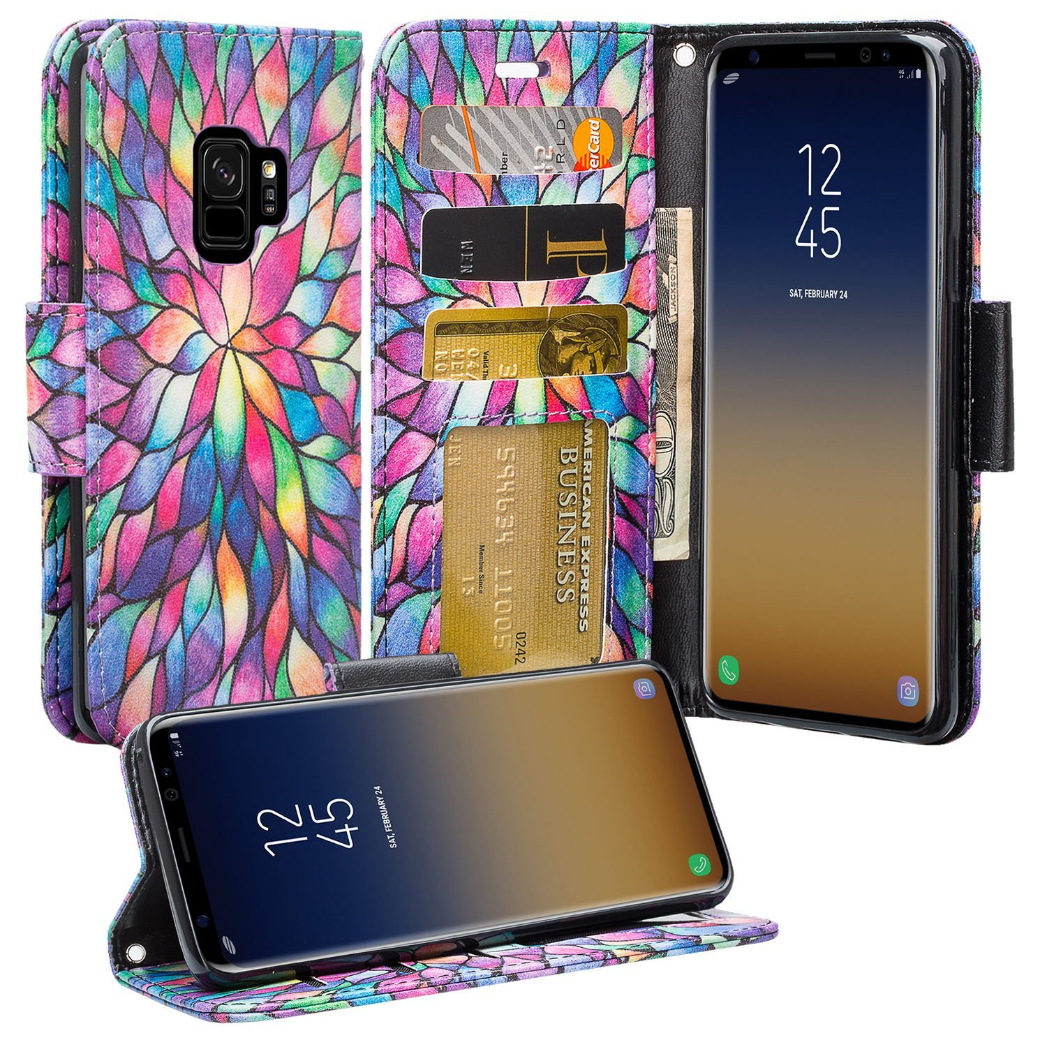 Galaxy S9 Case, Samsung Galaxy S9 Phone Cases, Flip Folio [Kickstand Feature] Pu Leather Wallet Case with ID & Credit Card Slot For Galaxy S9 - Rainbow