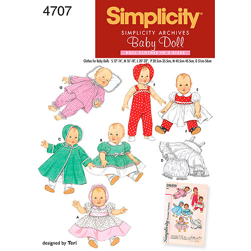Simplicity Pattern Baby Doll Clothes In 3 Sizes, (S, M, L)