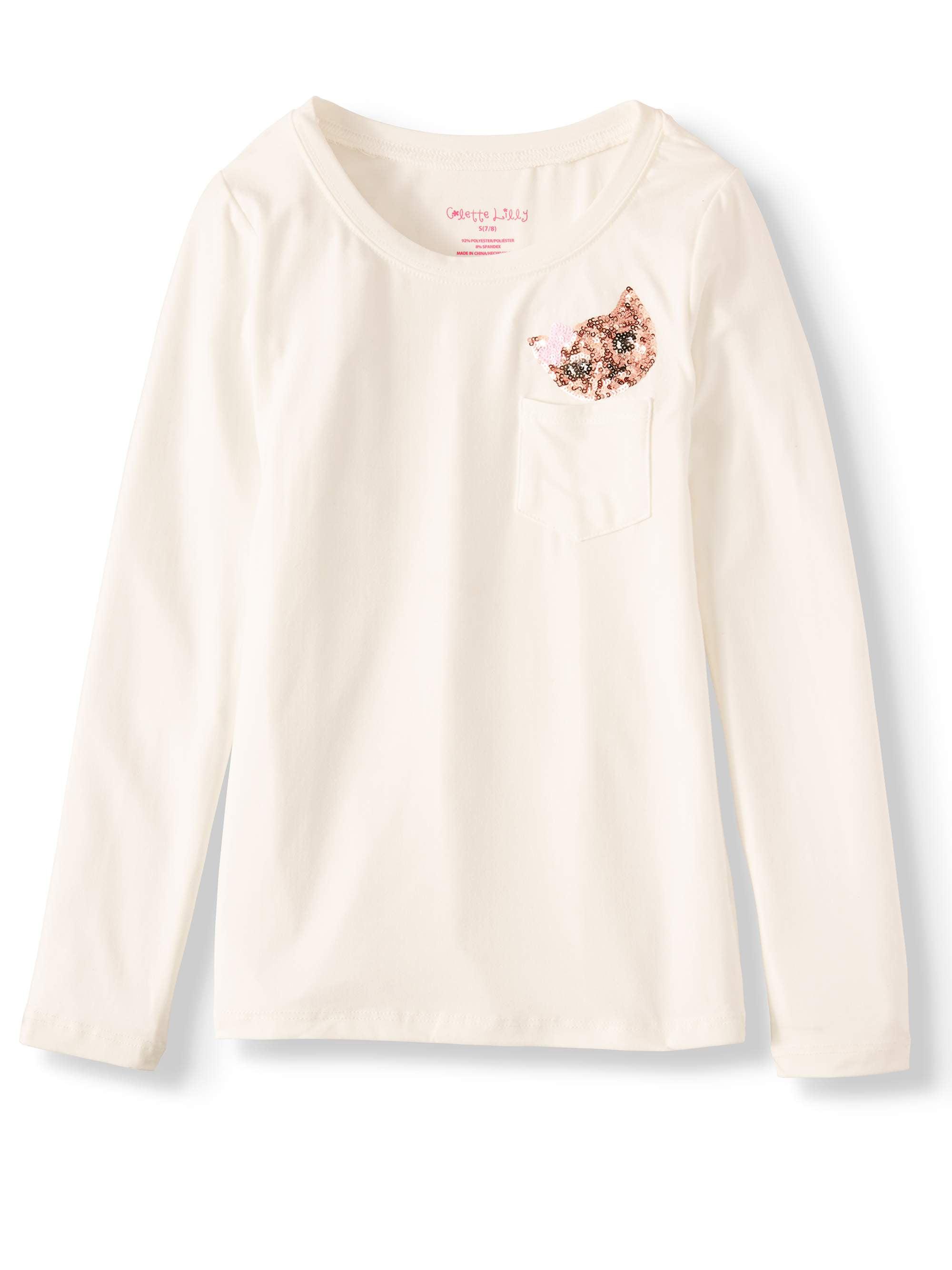 Girls' Sequin Critter Pocket Long Sleeve Tee