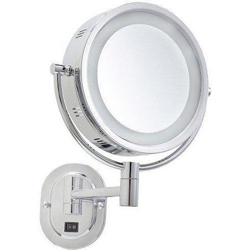 "Jerdon Hard-Wired 8"" 2-Sided Swivel Halo-Lighted Wall Mount Mirror with 3x Magnification, 12.5"" Extension, Chrome"