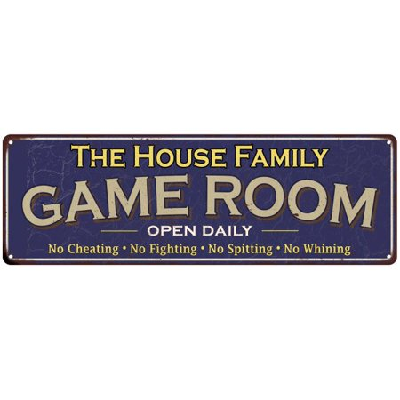 The Frost Family Game Room Blue Vintage Look Metal 6x18 Sign Family Name 6187447