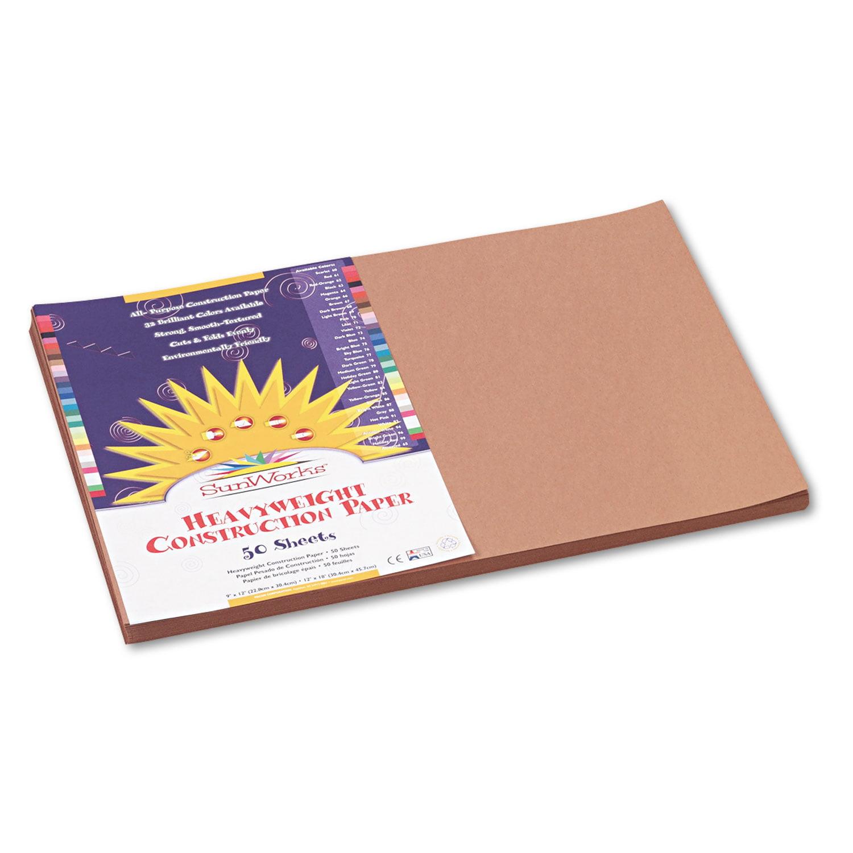 Construction Paper, 58lb, 12 x 18, Light Brown, 50/Pack