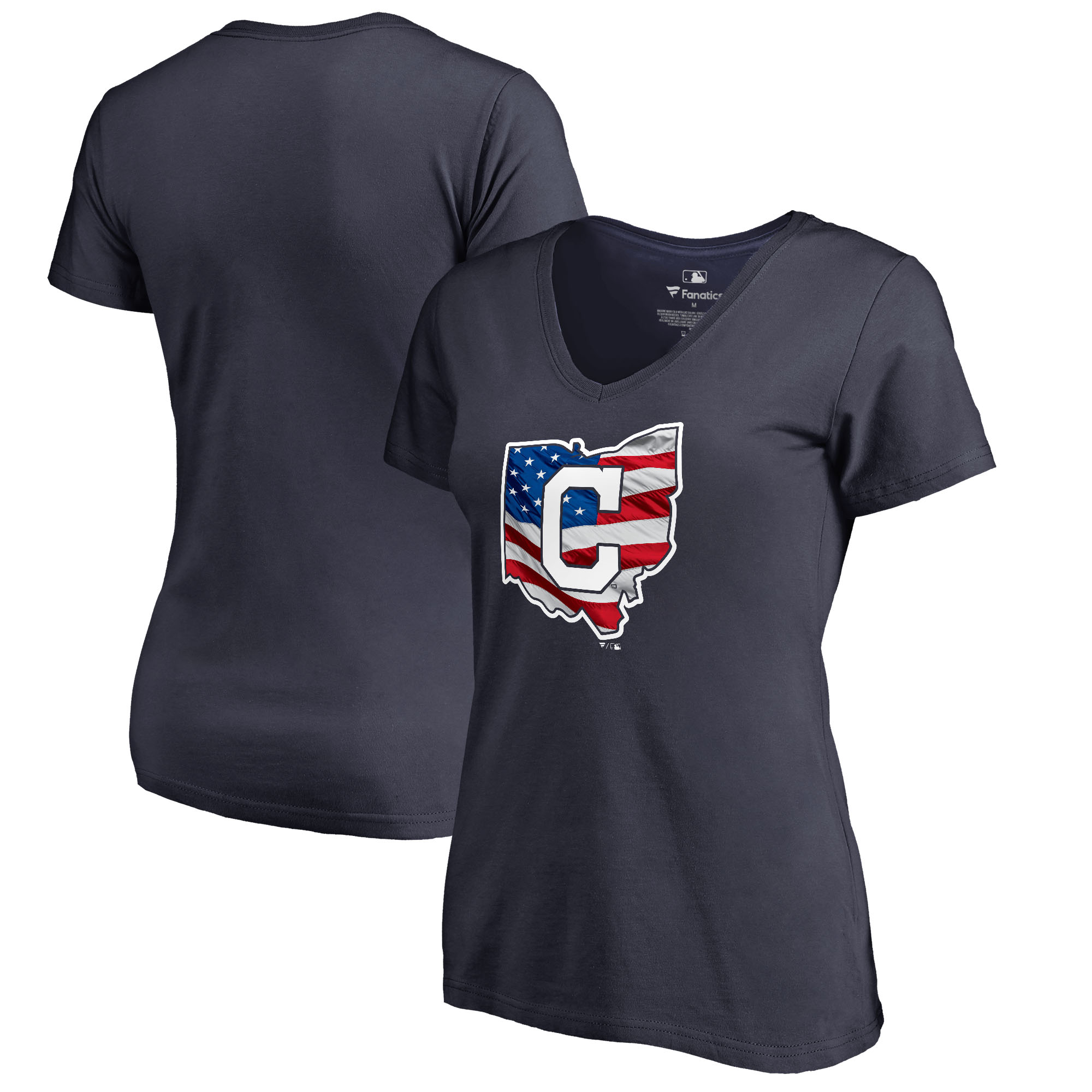 Cleveland Indians Fanatics Branded Women's 2018 Memorial Day Banner State Plus Size V-Neck T-Shirt - Navy