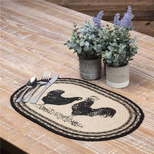 VHC Brands Sawyer Mill Poultry Oval Jute Placemat Set of 6 by VHC Brands