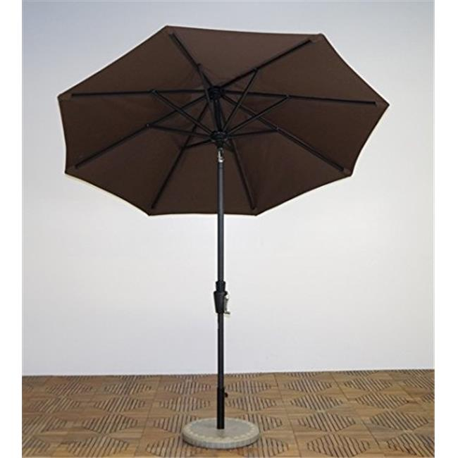 Shade Trends UM75-LI-110 7.5 ft. x 8 Rib Premium Market Umbrella, Licorice Frame, Kona Brown Canopy