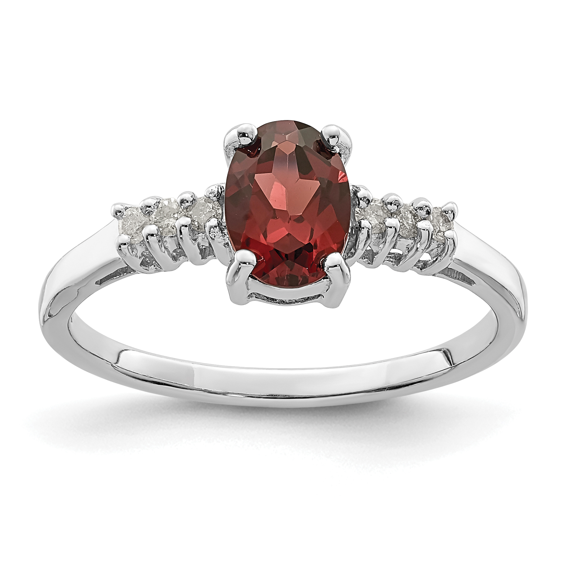 925 Sterling Silver Rhodium-plated Garnet and Diamond Ring - image 2 de 2