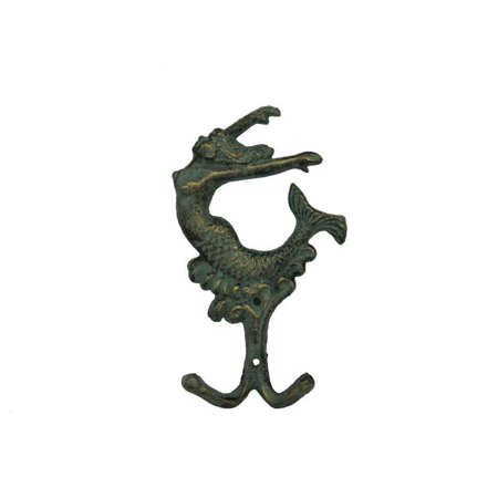 "Antique Bronze Cast Iron Mermaid Key Hook 6""- Metal Wall Art- Sealife Decor"