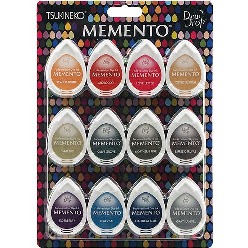 Tsukineko Memento Dew Drops Fade Resistant 12-Piece Dye Inkpads Assortment, Snow Cones Multi-Colored