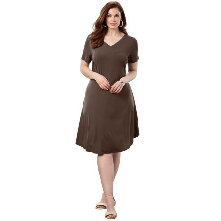 Roaman\'s Plus Size Swing Drape Dress