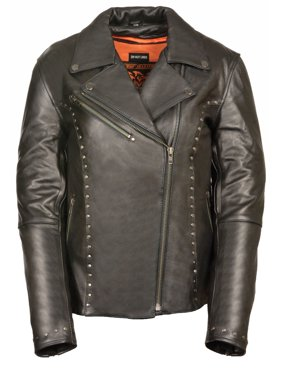6cbed8b7b Free shipping. Product Image Shaf - Womens Classic Leather Motorcycle Jacket  Rivet Detail - Black - Size 3XL