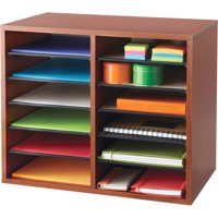 Safco, Adjustable 12-Slot Wood Literature Organizer, 1 Each, Cherry