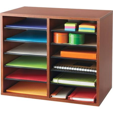 Safco, SAF9420CY, Adjustable 12-Slot Wood Literature Organizer, 1 Each, Cherry