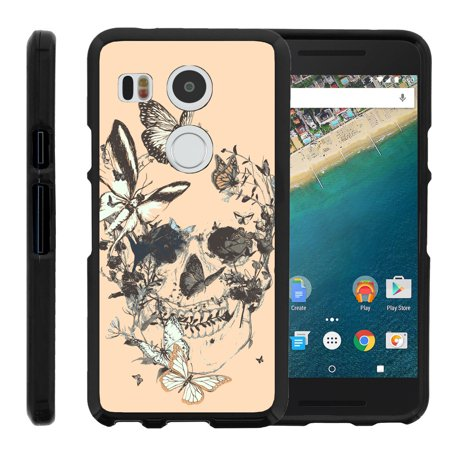 Lg Google Nexus 5X   Snap Shell  Matte Black  2 Piece Snap On Rubberized Hard Plastic Cell Phone Case With Exclusive Art   Butterfly Skull