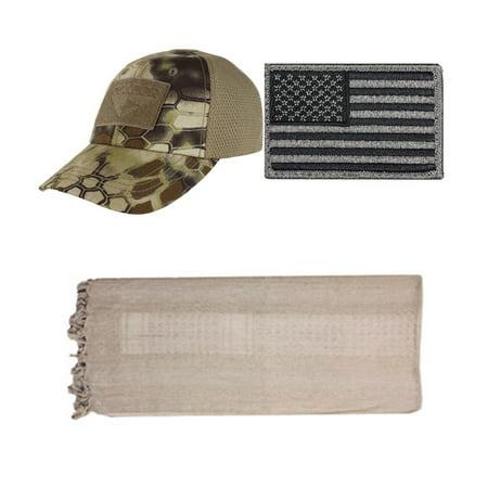 13549cebb Cap Mesh Kryptek Highlander + USA PATCH FOLIAGE LEFT + Straw Tan ...