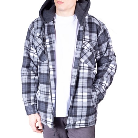 Walnut Creek Mens Warm Fleece Lined Plaid Flannel Hooded