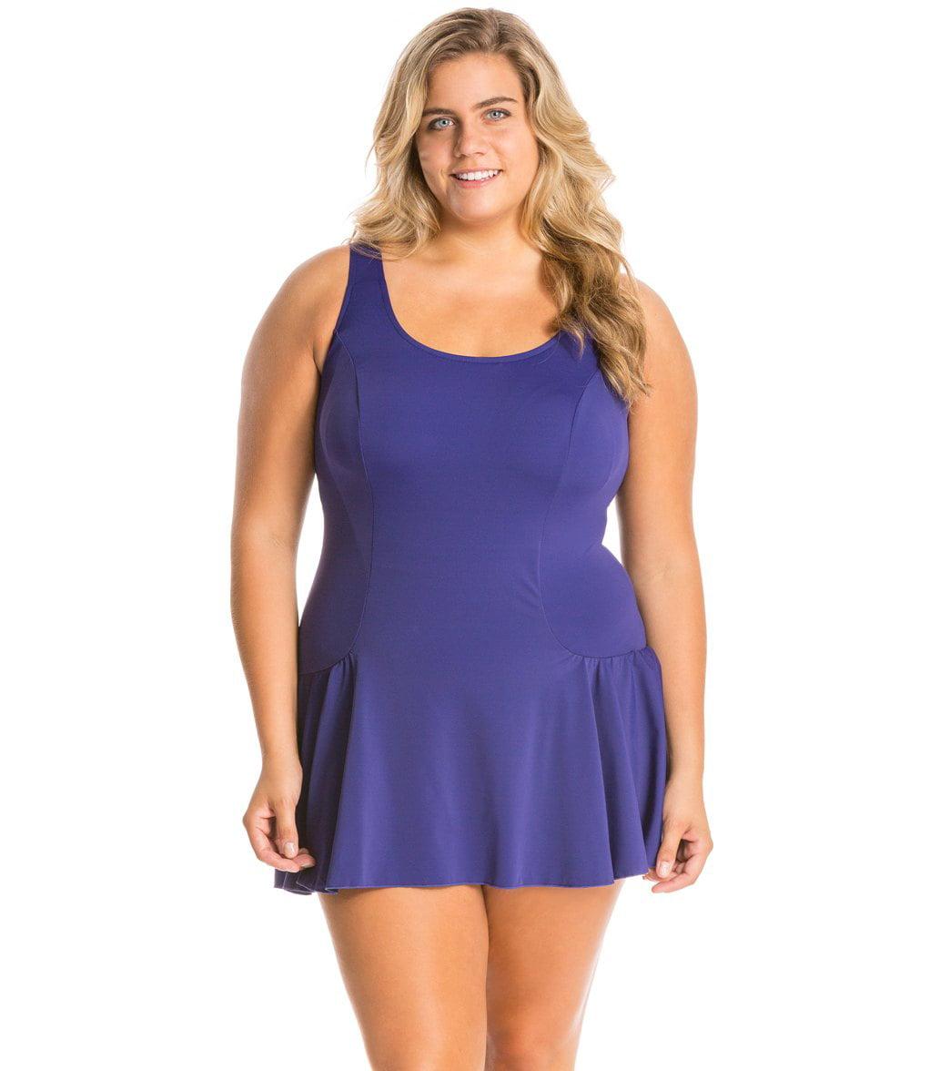 Beach Belle Spruce Mesh Swimdress | Swim dress, Plus size