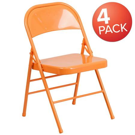 Sensational 4 Pk Colorful Orange Marmalade Triple Braced Metal Folding Chair Machost Co Dining Chair Design Ideas Machostcouk
