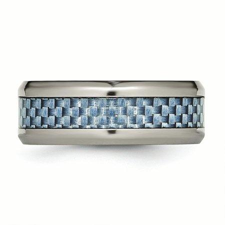 Titanium Polished Blue Carbon Fiber Inlay Ring Size 7.5 - image 2 of 3