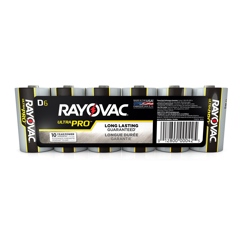 Rayovac UltraPro Alkaline, D Batteries, 6 Count