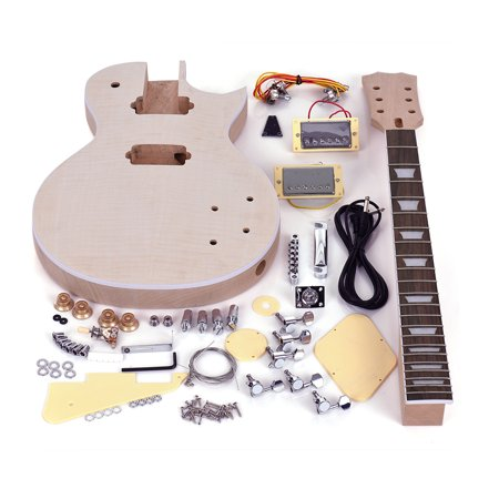 Muslady LP Style Unfinished Electric Guitar DIY Kit Set Mahogany Body & Neck Rose Wood Fingerboard