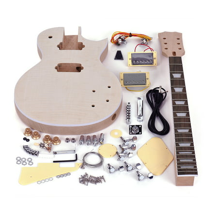 Muslady LP Style Unfinished Electric Guitar DIY Kit Set Mahogany Body & Neck Rose Wood Fingerboard ()