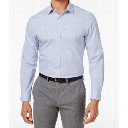 White Mens Window Pane Micro-Check Dress Shirt 17 1/2 (Windowpane Dress Shirt)