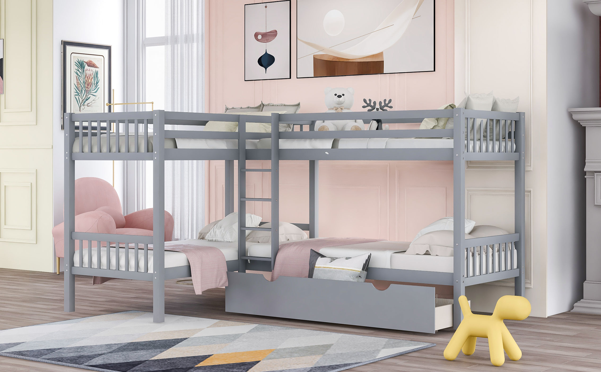 Quad Beds Bunk Beds Twin L Shaped Bunk Bed With Trundle And Guardrail No Spring Box Needed Solid Wood Bunk Beds Twin Over Full With Ladder And Guard Gray Walmart Com Walmart Com