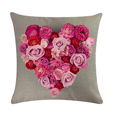 Sweetheart Roses Block - Tayyakoushi Rose Flower Pillow Cover 3D Decorative Rose Sweet Heart Valentine's Day Decorations Throw Pillow Home Decor Linen Pillowcase (Gray)