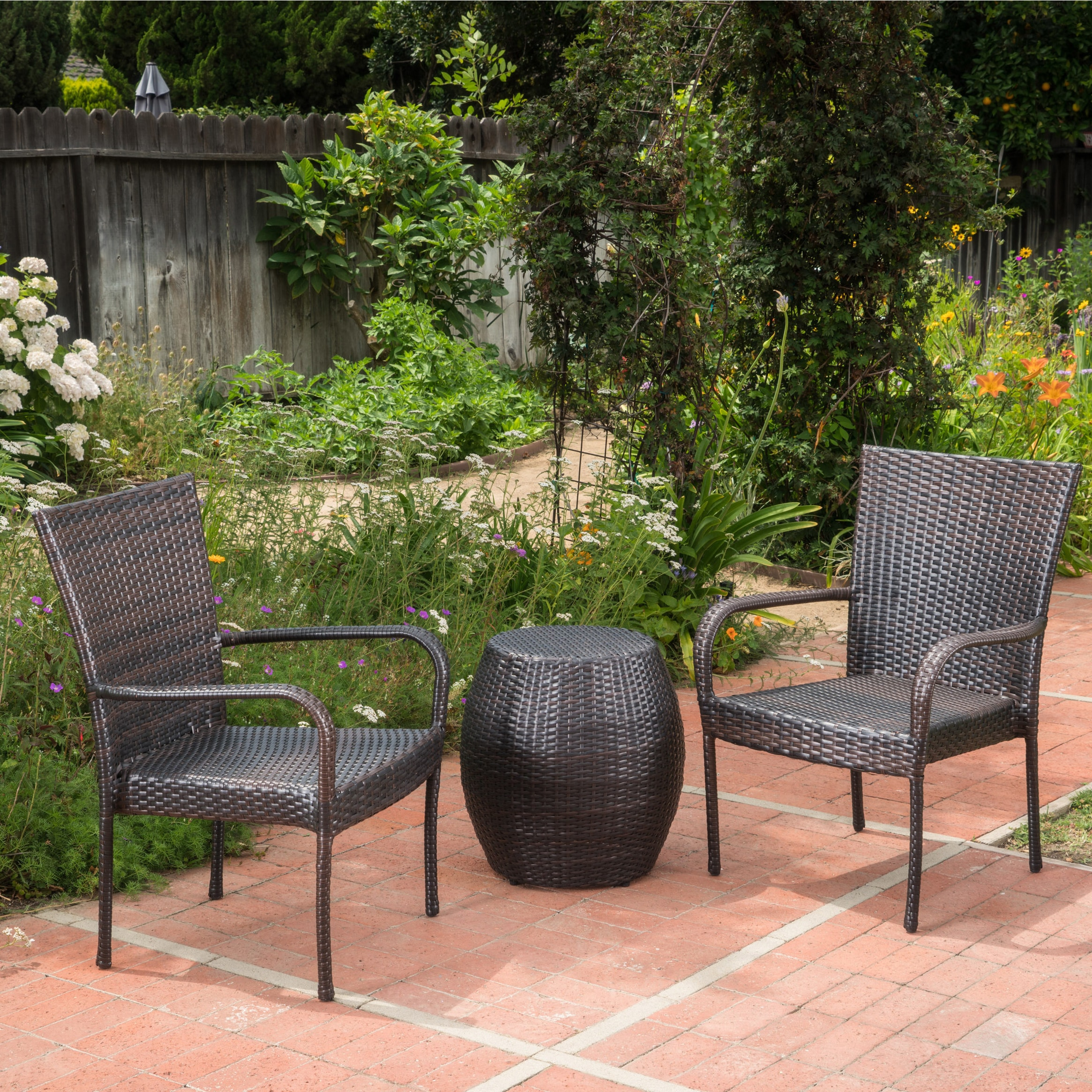 Christopher Knight Home Orleans Outdoor 3-Piece Wicker Chat Set by