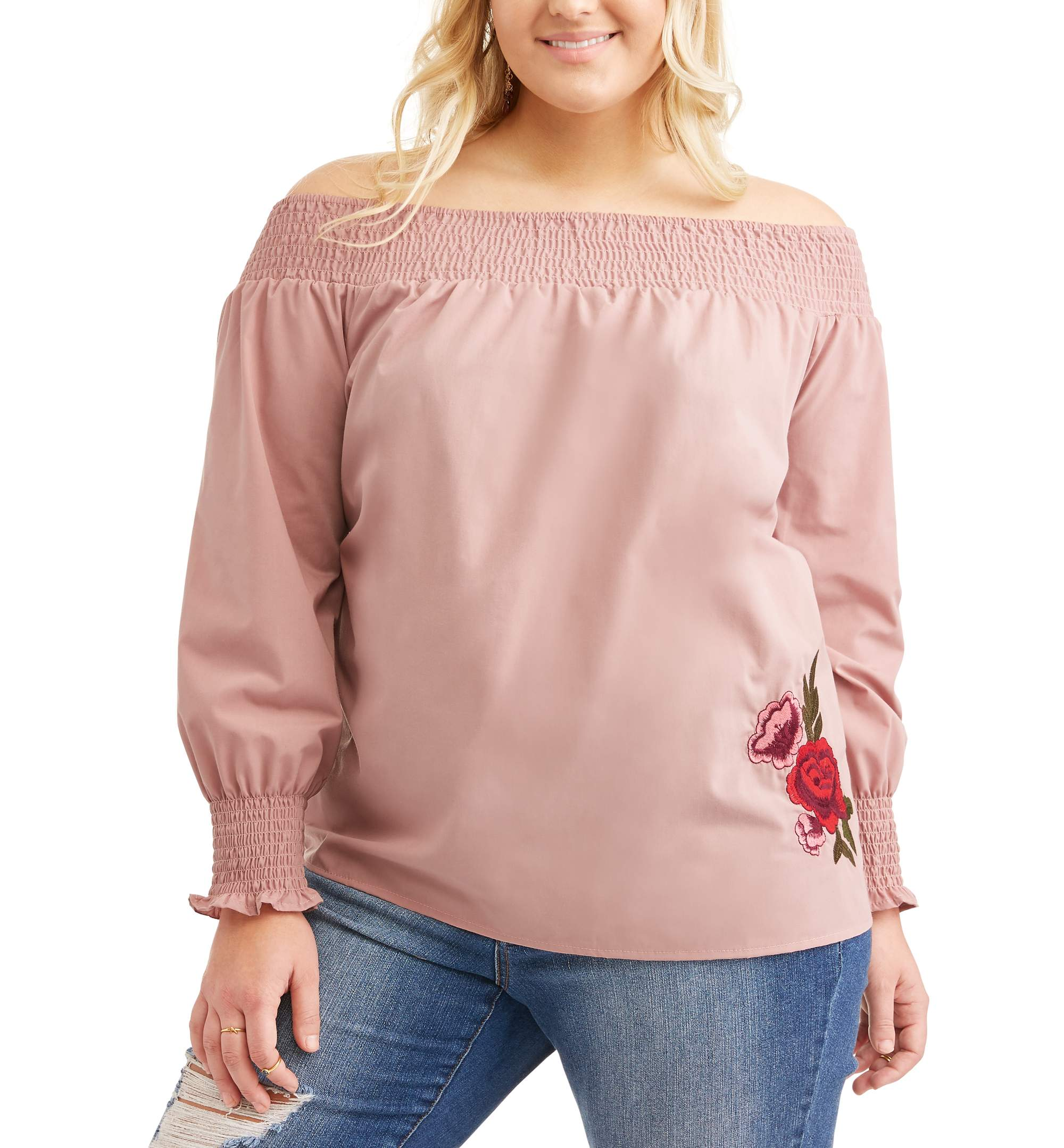 Juniors' Plus Smocked Off Shoulder Poplin Top with Embroidery