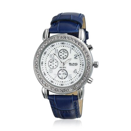 Deco Style Round Crystal Bezel White Dial Fashion Wrist Watch For Women Faux Blue Crocodile Leather Band Steel Back - image 3 of 3