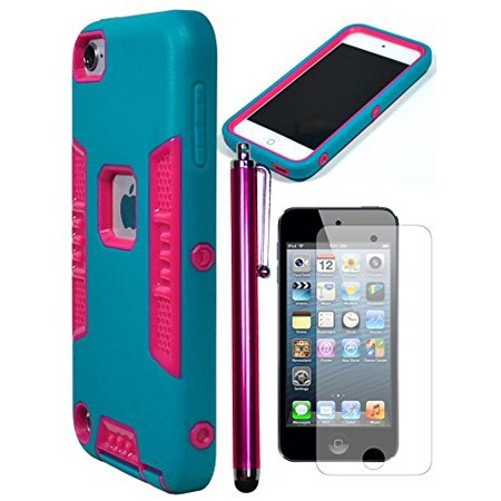 - Bastex Heavy Duty Robotic Design Hybrid Teal Rubberized Case with Hot Pink Hard Insert for Apple iPod Touch 5 **INCLUDES SCREEN PROTECTOR AND STYLUS**