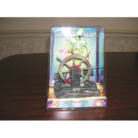 - Penn-Plax Action-Air 075 Plastic Skeleton At The Wheel Aerating Ornament Jewel Box Package, Multicolor