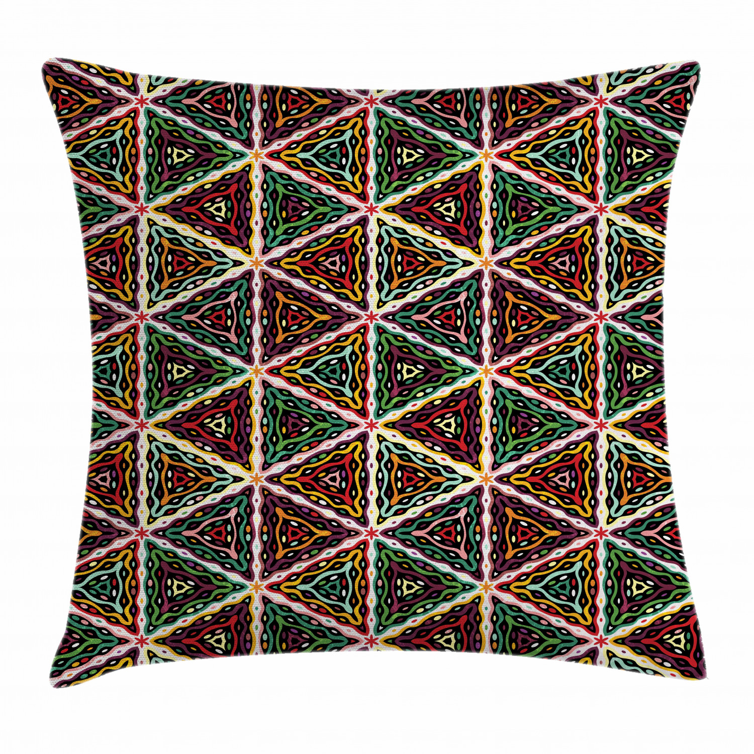 African Throw Pillow Cushion Cover, Grunge Triangle Design