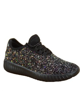 ba4252bbe5a Product Image Remy-18k Youth Girl s fashion Flat Lace Up Light weight  Glitter Sneaker Athletic Shoes