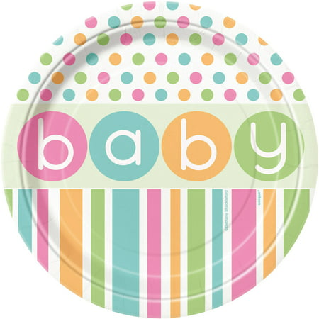 Pastel Baby Shower Plates, 7 in, 8ct