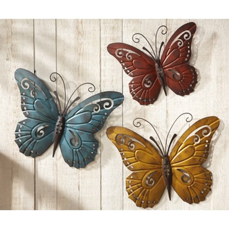 CTD Store Beautiful Metal Wall Sculpture Nature Inspired Butterfly Art Trio Home Decor ()