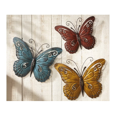 3D Set of 3 Rustic Butterfly Trio Plaque Wall Sculpture Hanging Art Decor
