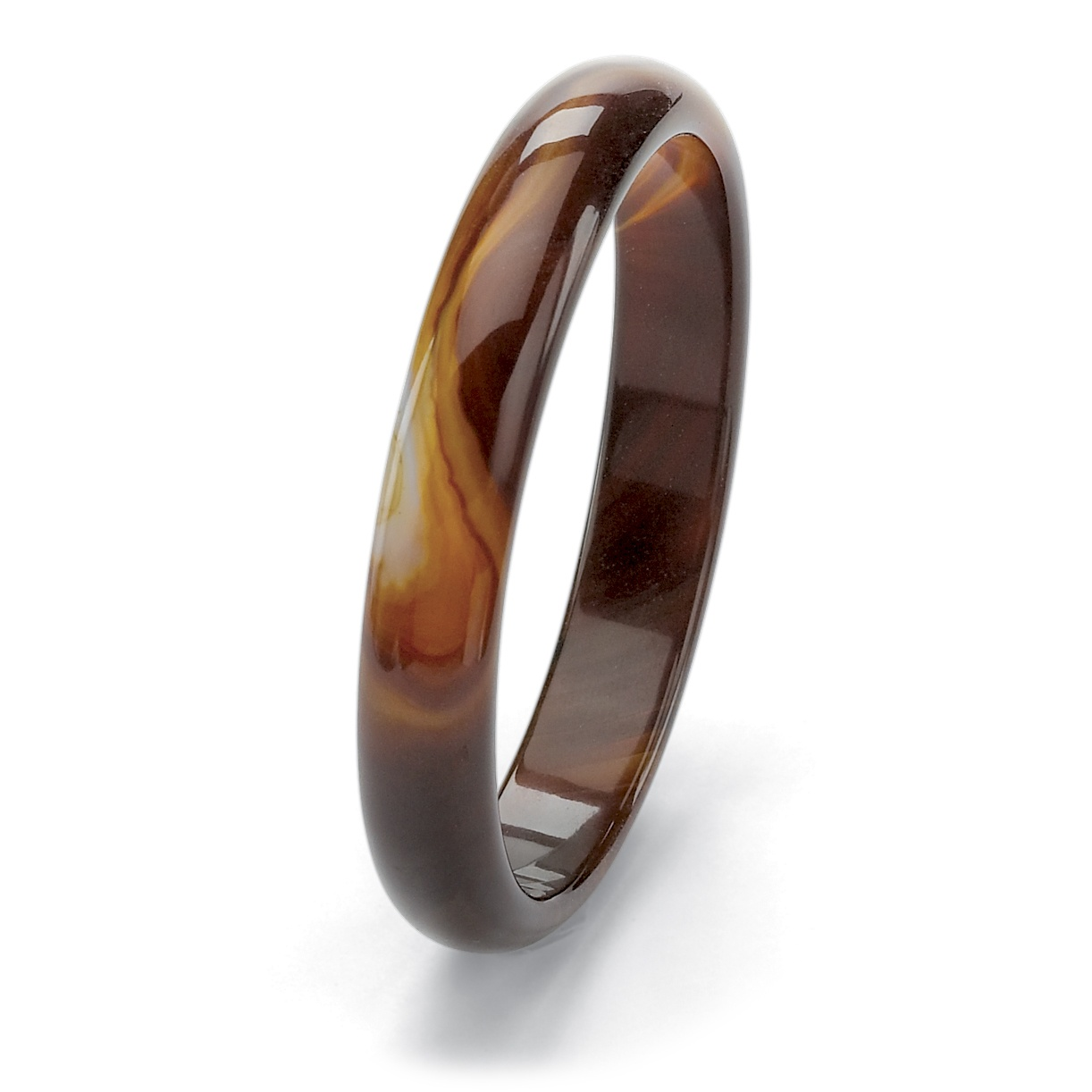 "Genuine Brown Agate Bangle Bracelet 9"" (13mm) by PalmBeach Jewelry"