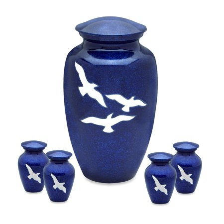 - Bright Blue with Birds Adult Cremation Urn with 4 Tokens