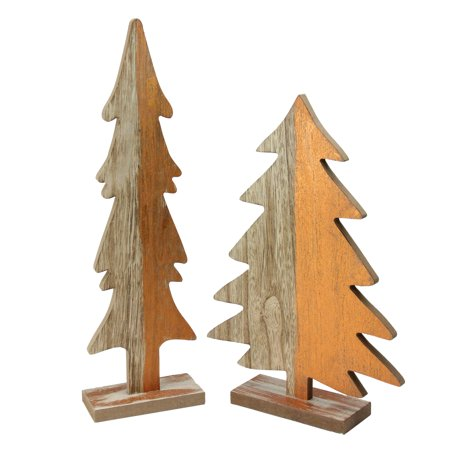 Set of 2 Wood Trees with Golden Orange Metallic Paint Christmas Figures - image 1 de 1